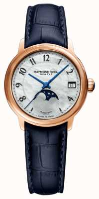 Raymond Weil Women's | Maestro | Auto | Moonphase | Mother Of Pearl Dial | Blue Leather Strap 2139-P53-05909