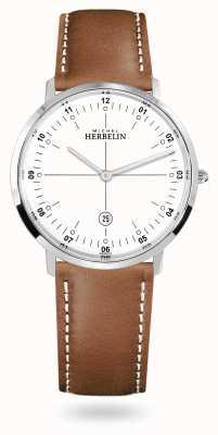 Michel Herbelin City Quartz Brown Leather Strap White Dial 19515/12GON