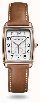 Michel Herbelin Art Déco | Silver Dial | Brown Leather Strap 10638/PR22GO