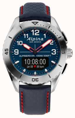 Alpina | AlpinerX | Smartwatch | Blue Leather Strap | AL-284LNNR5SSAQ6L