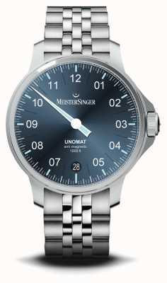 MeisterSinger Unomat Blue Sunray Dial Stainless Steel Watch UN917
