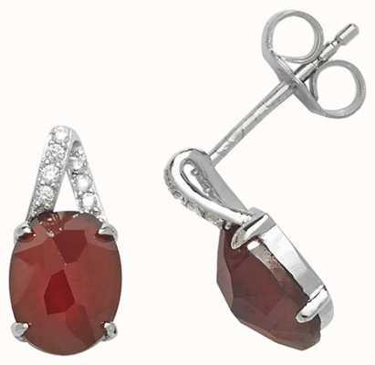 James Moore TH Silver Garnet Cubic Zirconia Stud Earrings G51062