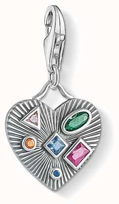 Thomas Sabo Sterling Silver Colourful Stones Heart Charm Pendant 1806-318-7