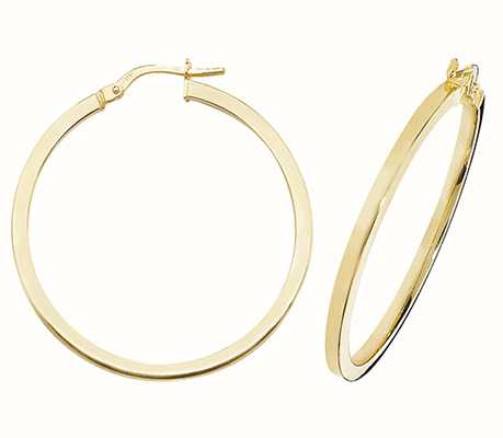 James Moore TH 9ct Yellow Gold Square 30mm Hoop ER947-30