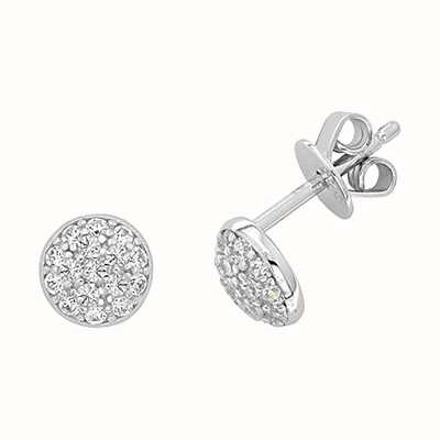 James Moore TH Women's Silver Round Cubic Zirconia Cluster Studs G51197
