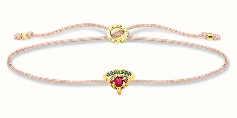 Thomas Sabo Little Secrets | Fawn Coloured Nylon Bracelet | Watermelon Charm LS126-488-7-L20V