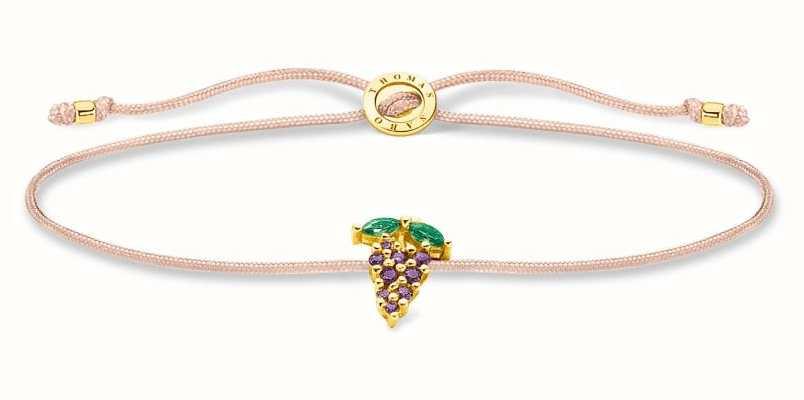 Thomas Sabo Little Secrets | Fawn Coloured Nylon Bracelet | Grape Charm LS127-472-7-L20V
