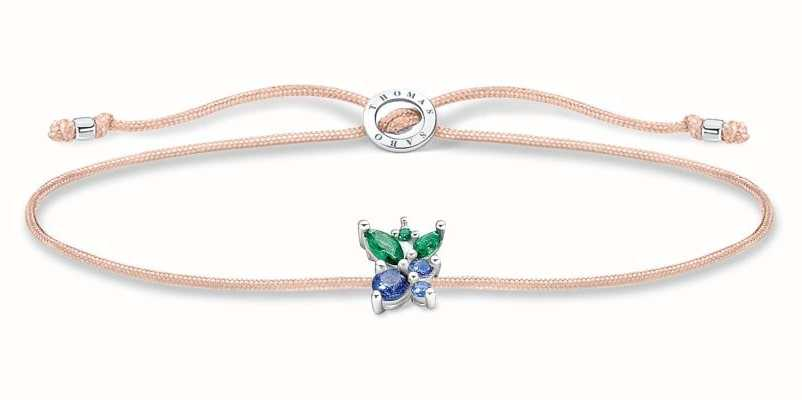 Thomas Sabo Little Secrets | Fawn Coloured Nylon Bracelet | Blueberry Charm LS128-166-7-L20V