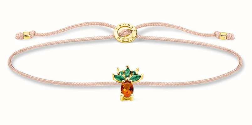 Thomas Sabo Little Secrets | Fawn Coloured Nylon Bracelet | Pineapple Charm LS129-472-7-L20V