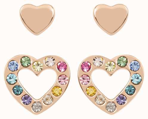Radley Jewellery Love Radley   Rose Gold Plated Hearts Stud Earrings Set   Multicoloured Stones RYJ1176