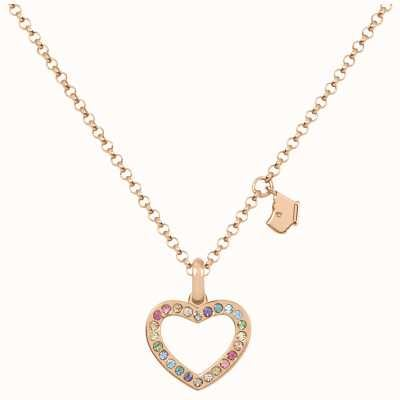 Radley Jewellery Love Radley   Rose Gold Plated Sterling Silver Heart Necklace   Colourful Stones RYJ2182