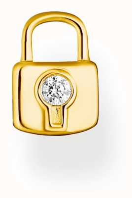 Thomas Sabo Sterling Silver 18k Yellow Gold Plated Padlock Single Stud Earring H2219-414-14