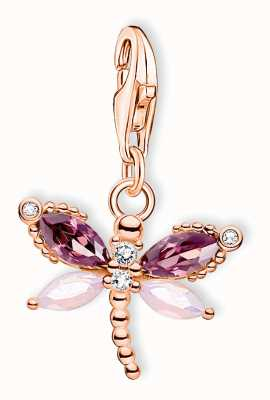 Thomas Sabo Sterling Silver 18K Rose Gold Plated Dragonfly Charm Pendant 1873-323-7