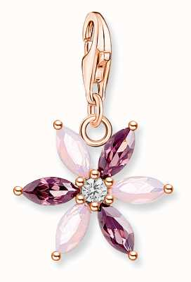 Thomas Sabo Sterling Silver 18K Rose Gold Plated Flower Charm Pendant 1874-323-7