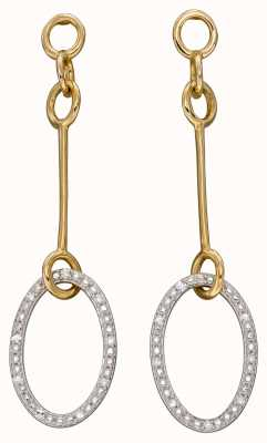 Elements Gold 9ct Yellow Gold Open Loop Diamond Drop Earrings GE2380