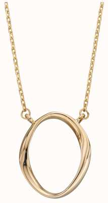 Elements Gold 9ct Yellow Gold Open Circle Delicate Pendant And Chain GN353