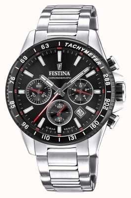Festina Chronograph Black Dial Stainless Steel Watch F20560/6