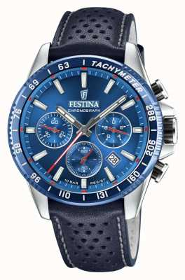 Festina Chronograph Blue Perforated Leather Strap F20561/3