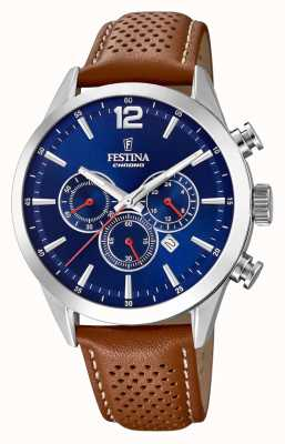 Festina Chronograph Blue Dial Brown Leather Strap F20542/3