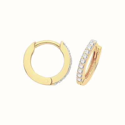 James Moore TH 9ct Yellow Gold Hinged Cubic Zirconia Hoop Earrings ER002-08