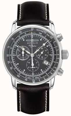 Zeppelin   Series 100 Years   Chronograph Date   Black Leather Strap 7680-2