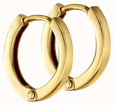 Elements Silver Gold-plated Squared Huggie Hoops E5865