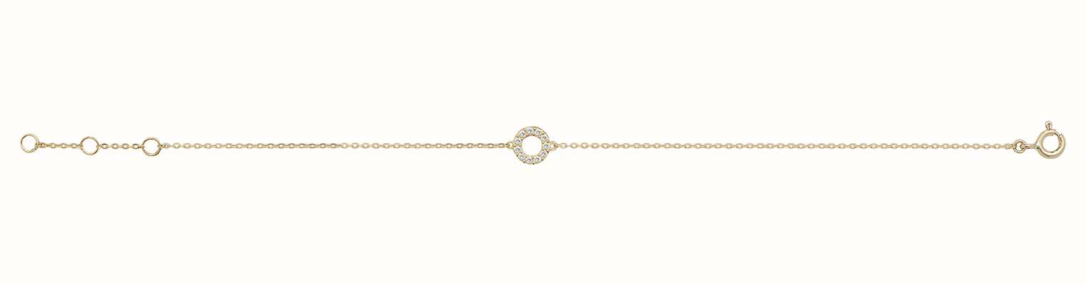 James Moore TH 9ct Yellow Gold Cubic Zirconia Open Circle Bracelet BR606