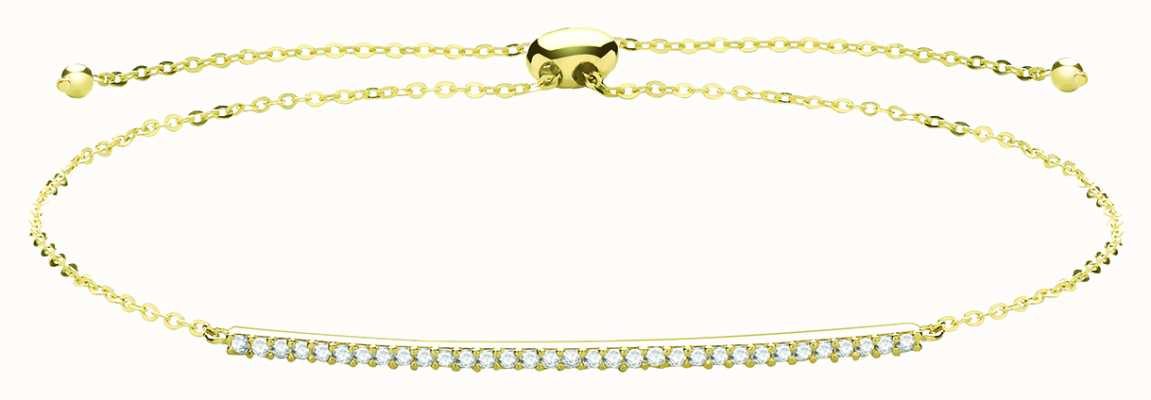 James Moore TH 9ct Yellow Gold Cubic Zirconia Bar Pull Bracelet BR629