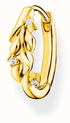 Thomas Sabo Leaves White Stone Gold Single Hoop CR681-414-14
