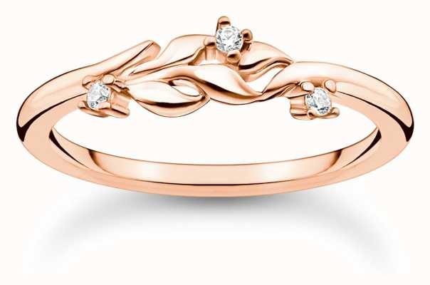 Thomas Sabo Leaves with White Stones Rose Gold Ring TR2376-416-14-54