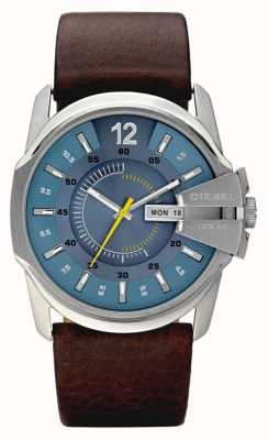 Diesel Mens Blue Dial Brown Leather Strap Watch DZ1399