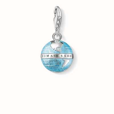 Thomas Sabo Globe Charm Blue 925 Sterling Silver Cold Enamel 0754-007-1