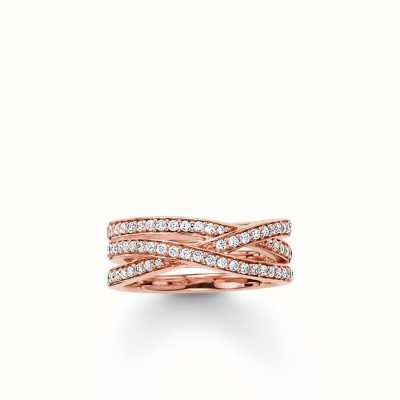 Thomas Sabo Ring White 925 Sterling Silver Gold Plated Rose Gold/ Zirconia TR2012-416-14-54