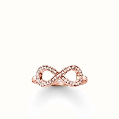 Thomas Sabo Ring White 925 Sterling Silver Gold Plated Rose Gold/ Zirconia TR2014-416-14-56