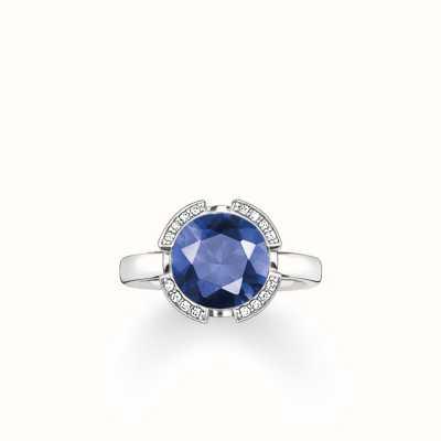 Thomas Sabo Ring Dark-Blue 925 Sterling Silver/ Synthetic Corundum/ Zirconia TR2038-050-32-54