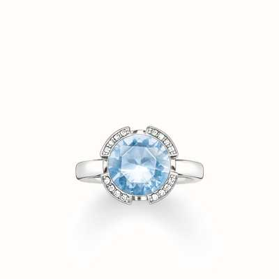 Thomas Sabo Ring Light Blue 925 Sterling Silver/ Synthetic Spinel/ Zirconia TR2038-059-31-54